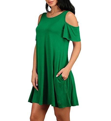 Women's Cold Shoulder Ruffle Sleeves Summer Dress Green Medium