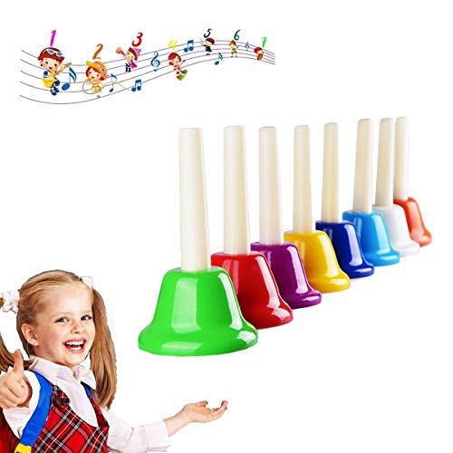 Hand Bells Set, Colorful Percussion 8 Note Diatonic Metal Hand Bell Kit for Toddler, Kid, Adults, Used for Festival, Musical Teaching, Church Chorus, Wedding, Family Party