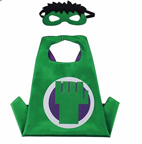 Tinley Warehouse Superhero Cape and Mask Costume Set Hulk Boys Kids Age 2-10 Dress up Birthday Halloween (Toddler Hulk Costumes)