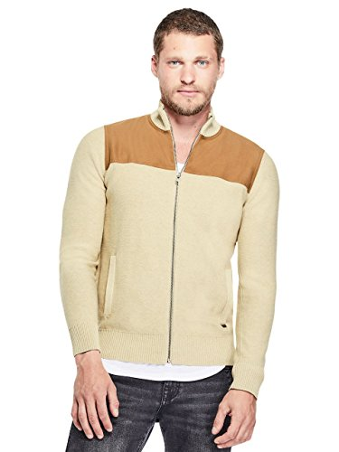 G by GUESS Men's Martin Mock-Neck Zip Sweater Oatmeal Heather ()