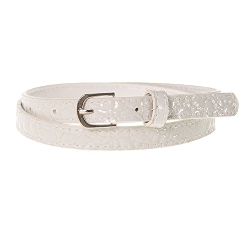Sunny Belt Girl's ½ Inch Wide Faux Patent Croc Skinny White Belt/Silver Buckle ()