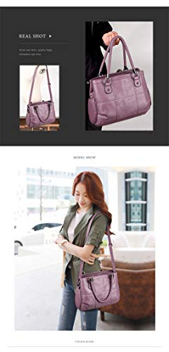 Leather Tote Quality Purple Crossbody High Women's q4RAwBn