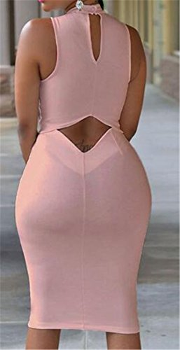 Backless Mock Dress Bodycon Cromoncent Sleeveless Evening Out Clubs Women Pink Cut s Mini Neck qqtX7w