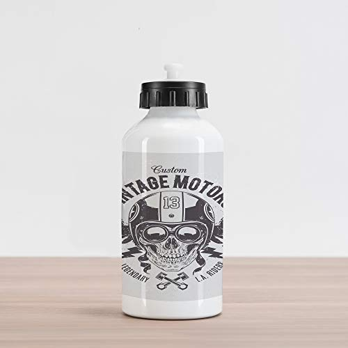 Lunarable Skull Aluminum Water Bottle, Rider Skull with Retro Racer Attributes LA Riders Club Helmet Motorbike Rock, Aluminum Insulated Spill-Proof Travel Sports Water Bottle, Charcoal Grey White