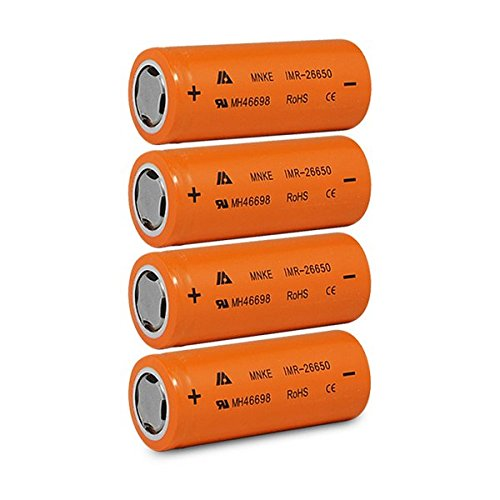 4 MNKE IMR 26650 30A 3500mAh 3.7v Rechargeable Flat Top Batteries by MNKE