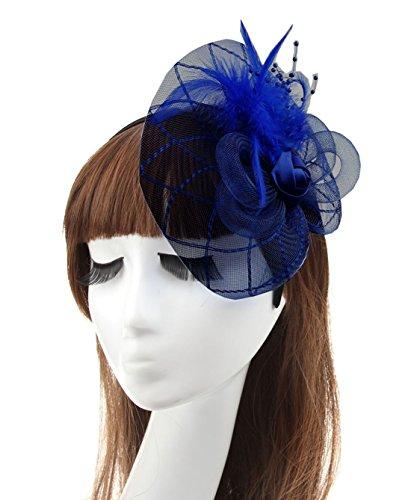Fascinator Hair Clip Head Hoop Headband Feather Rose Flower Derby Party Wedding (Navy Blue 2)