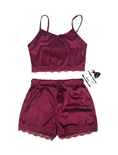 VWIWV Women Sleeveless Lace Crop Top Camisole and Shorts Pajamas Sleepwear  Set (XX-Large e8bad53c9