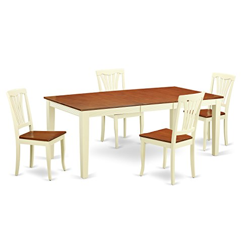 East West Furniture QUAV5-WHI-W 5 Piece One Table and 4 Dining Chair