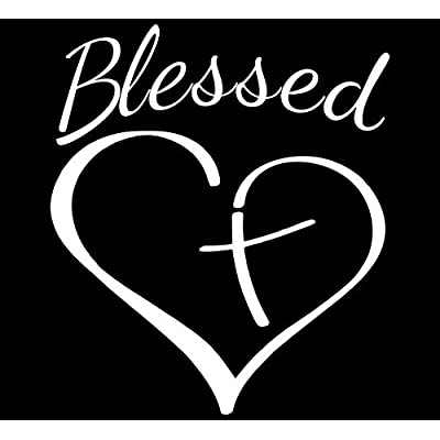 Blessed Cross And Heart Christian Decal Vinyl Sticker|Cars Trucks Vans Walls Laptop| White |5.5 x 4.5 in|CCI1031: Automotive