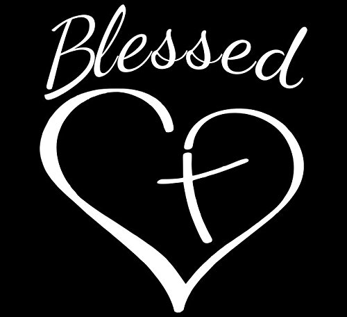 - Blessed Cross And Heart Christian Decal Vinyl Sticker|Cars Trucks Vans Walls Laptop| White |5.5 x 4.5 in|CCI1031