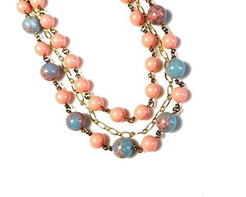 Multi Strand Blue Jasper Gemstone Bib Necklace with Pink Swarovski Pearls and Gold Chain