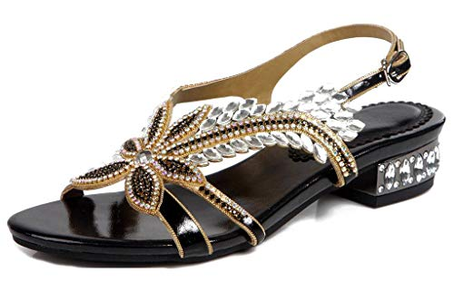 LizForm Women Open Toe Dress Party Leather Shoes Sparkle Crystal Studded Ankle Strap Sandals Black 10.5 (Studded Crystal Sandal)