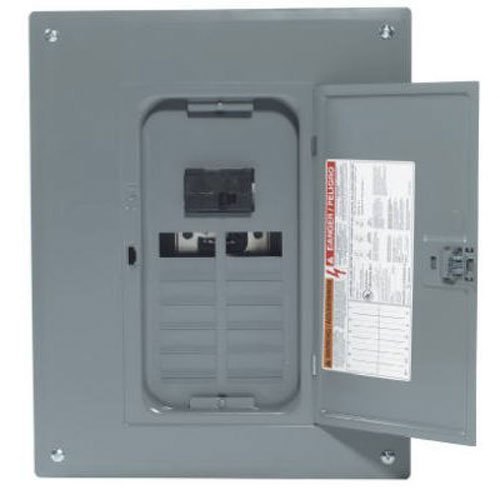 Square D by Schneider Electric HOM1224M100PC Homeline 100 Amp 12-Space 24-Circuit Indoor Main Breaker Load Center with Cover (Plug-on Neutral Ready), (100a Load Center)