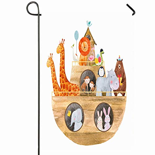 Ahawoso Outdoor Garden Flag 28x40 Inches Baptism Bible Childrens Watercolor Cute Noahs Ark History Monkey Safari Ship Africa Design Duck Seasonal Home Decorative House Yard Sign