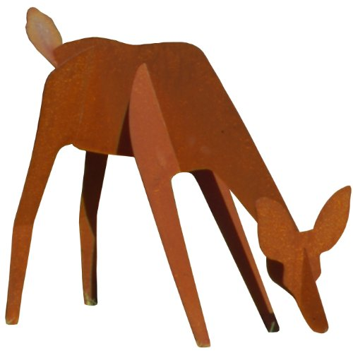 Fantasy Fauna LSGR-82 'Grazing' Doe Pre-Rusted Steel Sculpture, Life Size by Fantasy Fauna