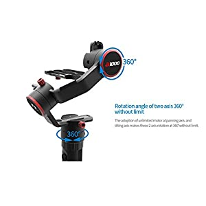 FeiyuTech a1000 3-Axis 360 Degree Unlimited Rotation Gimbal Stabilizer, Compatible with NIKON/SONY/CANON Series DSLR Camera/GoPro Action Camera/Smartphone,1 KG Payload,45 Degree Elevation Design