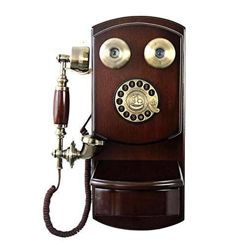 Luerme Retro Style Rotary Dial Telephone Classic Brown Retro Old Fashioned Landline Phones Wall Mounted with Classic Metal Bell Handfree and Redial Function for Home Decor, Home and Office Article (Brown Telephone)