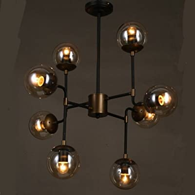 LightInTheBox Art Glass Ball Personality Round Beanstalk Chandelier Retro Vintage Painting Finish Pendent Lighting Fixture Black Warm White 110-120V