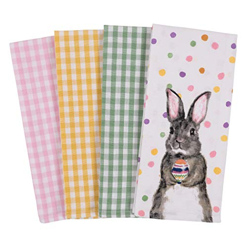 KAF Home Pantry Kitchen Holiday Dish Towel Set of 4, 100-Percent Cotton, 18 x 28-inch (Easter Egg Bunny) ()