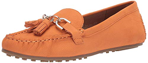 Aerosoles - Women's Soft Drive Loafer - Leather Round Toe Penny Style Walking Flat with Memory Foam Footbed (9M - Orange Nubuck)