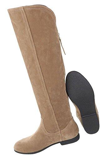 Damen Schuhe Stiefel Strass Besetzte Used Optik Modell Nr.1 Hellbraun