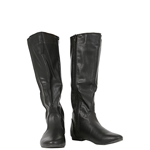 COLLECTION Flat Calf 3 Size up Ladies CORE Boots Womens 8 Elasticated Shoes MID New Zip Black Pu dwqx0I
