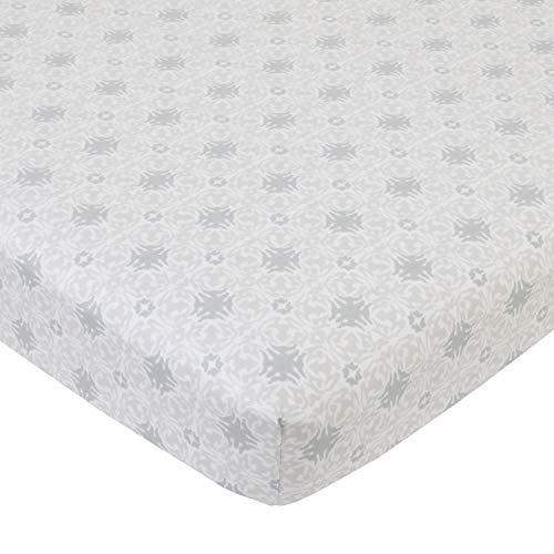 NoJo Serendipity - Taupe and Grey Medallion 100% Cotton Fitted Crib Sheet, Taupe, Grey, Ivory