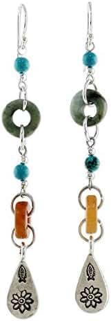 NOVICA Multi-Gem Blue Calcite .925 Sterling Silver Beaded Dangle Earrings, 'Hill Tribe Adventure'