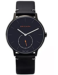 BRIGADA Cool Black Minimalist Men's Business Casual Wrist Quartz Watch Swiss Brand Waterproof Leather Band Watches for Men