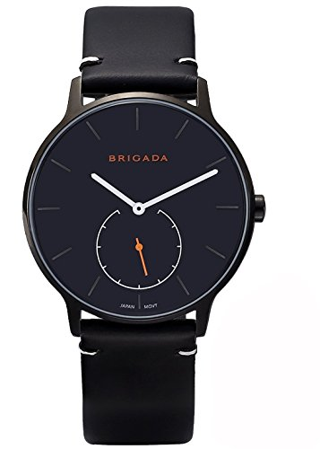 Cool Black Nice Fashion Minimalist Men's Dress Watch, BRIGADA Swiss Brand Business Casual Quartz Wrist Men Watch Waterproof (Black)