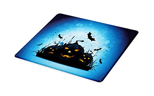 Lunarable Halloween Cutting Board, Scary Pumpkins in Grass with Bats Full Moon Traditional Composition, Decorative Tempered Glass Cutting and Serving Board, Small Size, Black Yellow Sky Blue