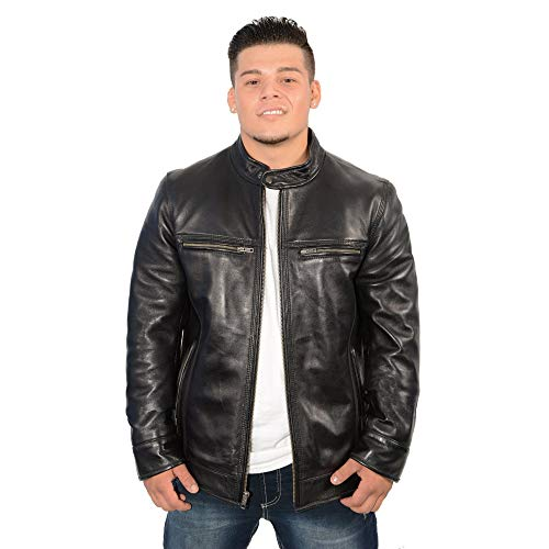 Milwaukee Leather-SFM1800-Mens Lambskin Black Stand Up Snap Collar Racer Jacket with Triple Stitch Accents - Black / X-Large ()