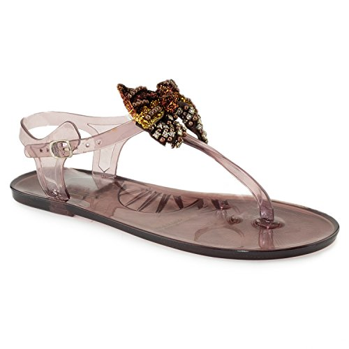 RF ROOM OF FASHION Strappy Studded Trendy Bow Clear Jelly Flat Sandal TAN (7)
