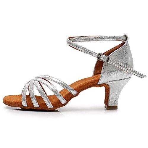 5 Heel 1 Heel Model 7CM 96inches UKLP1213 Dance Latin Shoes Height Silver Women's HIPPOSEUS Standard X0q7nUqT