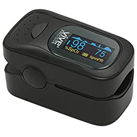 Finger Pulse Oximeter by Vive Precision - SpO2 Device for Blood Oxygen Saturation Level Reading - Fingertip Oxygen Meter w/ Alarm & Pulse Rate Monitor - Measure Accurate Oxygen Levels