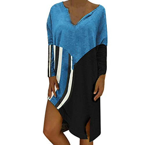 WENSY Women's Casual Striped Stitching T-Shirt Dress Midi Side Slit Loose Sexy Dress V-Neck Long-Sleeved Shirt Dress(Blue,S)