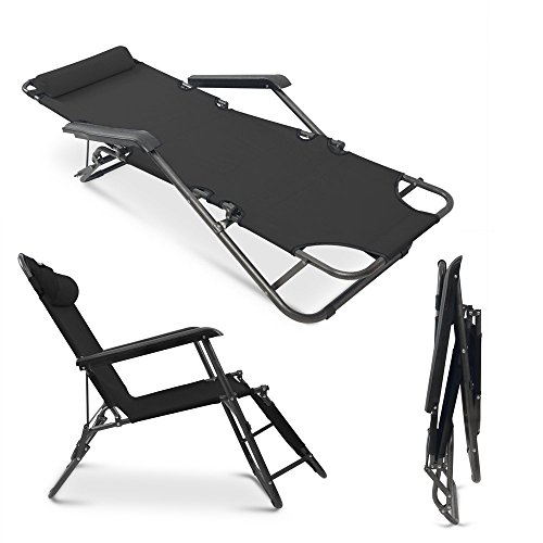 Apelila Set of 2 Folding Zero Gravity Lounge Beach Patio Chairs Outdoor Sunlounger Camping Hiking Recliner (Balck) by Apelila