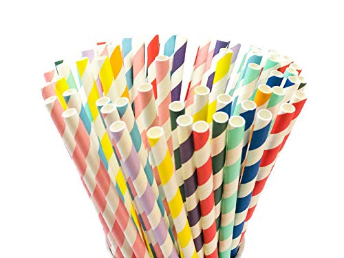 PARTYSOME 240 Classic Biodegradable Paper Straws, For Boy/Girl Baby/Bridal Shower, Anniversary, 21st/30th/50th Birthday, Engagement, Sweet 16, Bachelorette Party, Wedding Decorations Supplies ()