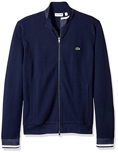 Lacoste Men's Full Zip Pique Fleece Sweatshirt, SH1921-51, Navy Blue/Navy Blue/White, 6