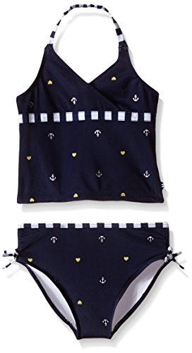 Nautica Little Girls' Anchor Solid Print Tankini, Navy, 5