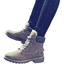 AgrinTol Women Solid Lace Up Boots Casual Ankle Boots Round Toe Shoes Winter Snow Boots