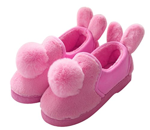 Cattior Mujeres Fur Lined Cute Warm Ladies Slippers Zapatos De Casa Rose Red