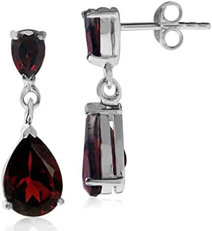 5.04ct. Natural Garnet 925 Sterling Silver Drop Dangle Earrings