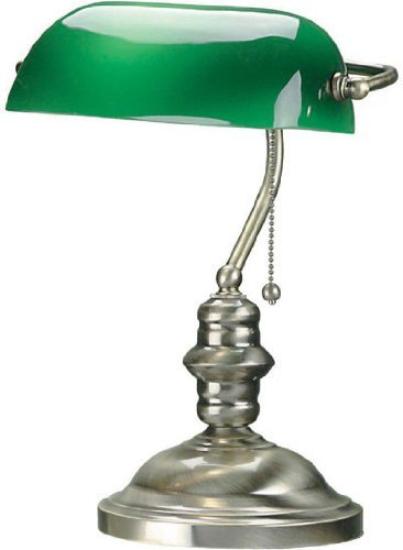 Lite Source LS-224AB Banker 14-1/2-Inch 60-Watt Banker's Lamp with Green Glass Shade, Antique Brass -