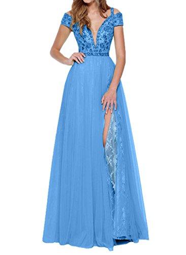 Charmant Tanzenkleider Lang Promkleider Abschlussballkleider Traeger Tief Blau V Ausschnitt Abendkleider Damen rx8SgqHr