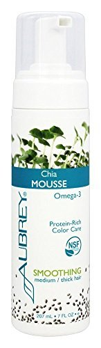 Aubrey Organics Chia Mousse - Smoothing NSF All Natural protein-enriched mousse for medium or thick hair smoothes hair fiber to reduce frizzing and enhance shine - 7 oz