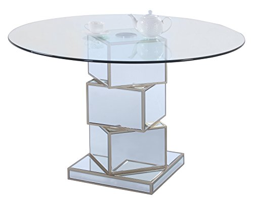 Milan MARTHA-DT Martha Clear 50'' Round Bevel Glass Table by Milan