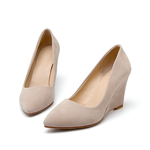 Women's Closed Pointed Suede on Imitated Pull Shoes Beige Pumps High WeiPoot Toe Heels Solid 1cwYdqd0
