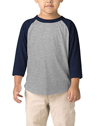 Hat and Beyond Infant Raglan 3/4 Sleeves Baseball Tee (24M, (Baby) 5bh03_Heather Gray/Navy)