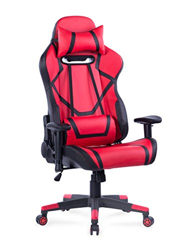 Killbee Large Gaming Chair Reclining Computer Chair Ergonomic Racing Chair High Back Swivel Executive Office Chair, Computer Desk Chair with Headrest and Lumbar Support Red